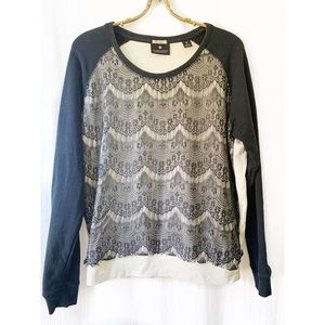 Maison Scotch lace overlay sweater